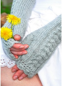 Hand knitted gray mittens cosy fingerless gloves