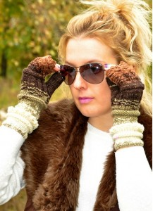 Long cable hand knitted fingerless gloves