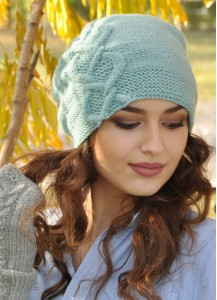 Boho mint hand knitted slouch beanie Fall and Winter Accessories