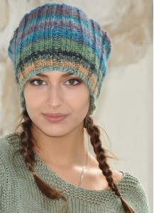 Multicolor hand knit beanie hat Womens Pom Pom Winter fall Accessories Unisex woolen hat