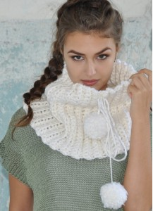 Neck Warmer with fluffy pompoms Chunky crocheted scarf for women