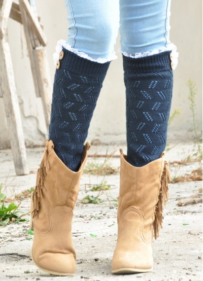 Lace knit leg warmers Buttons lace boot socks for woman