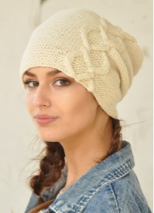 White off hand knitted slouch beanie Fall and Winter Accessories